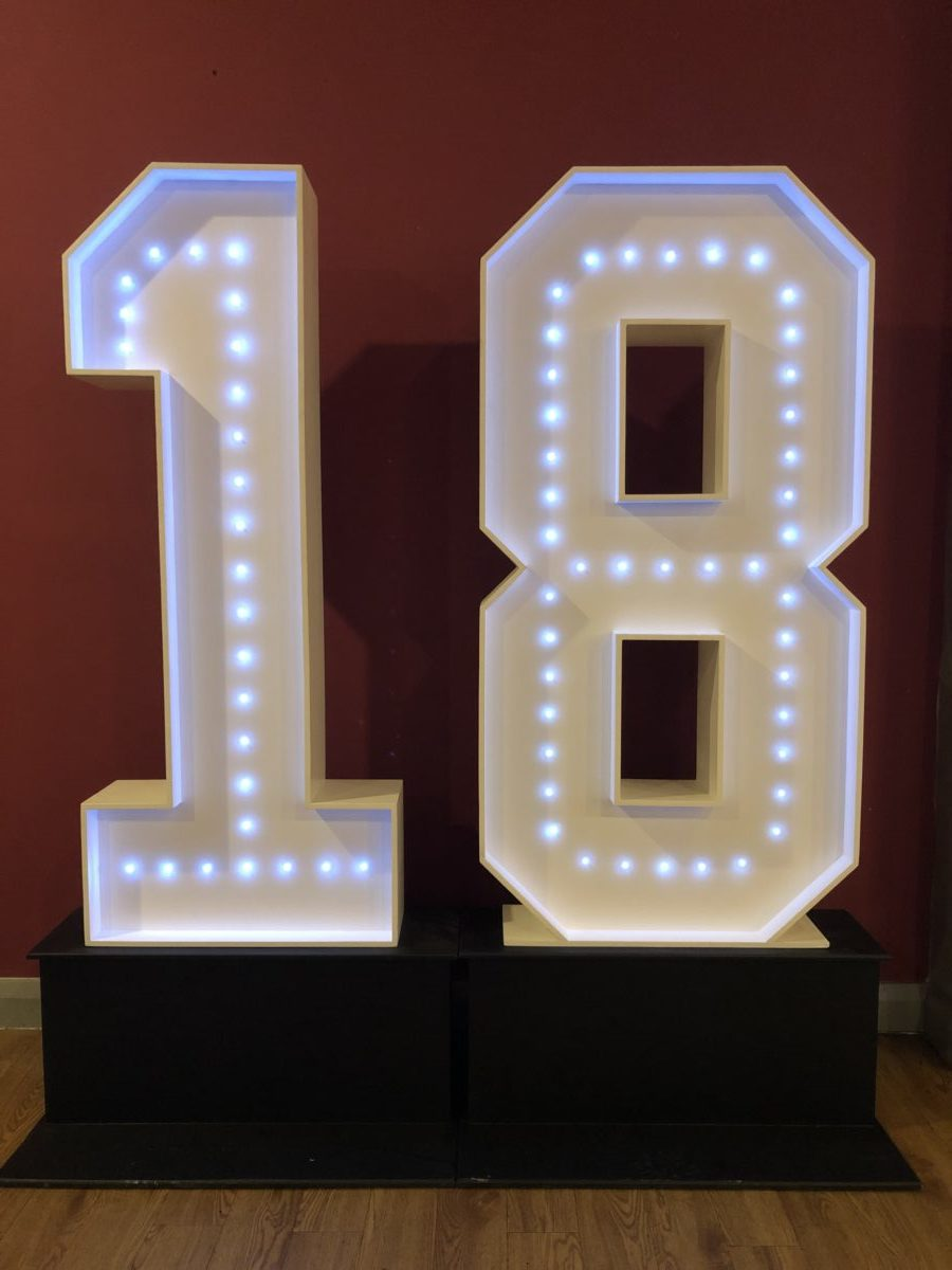 Our 4ft tall giant number 18. We also do giant letters too. A great addition to any mobile disco hire.