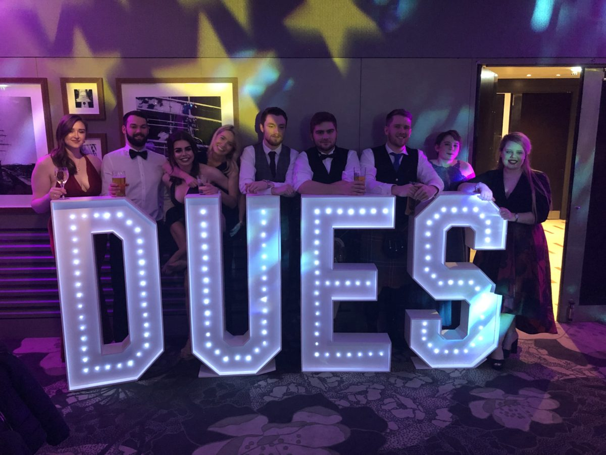 Giant letter hire for Dundee University at The Apex Hotel Dundee. Part of our wedding and party decor range.
