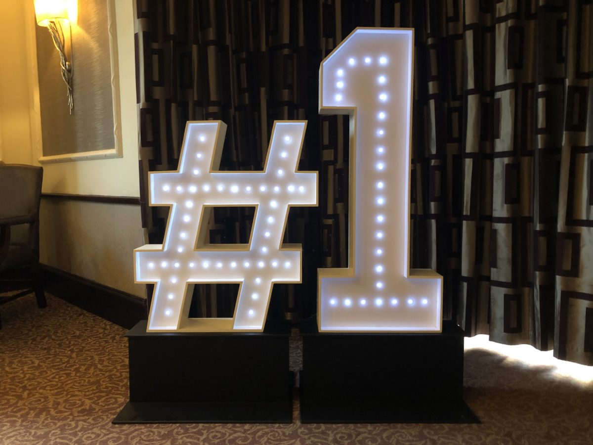 4ft tall No 1 on plinths with hashtag. Part of our giant letter and giant number range.