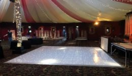 20ft white led dance floor hire at Prestonfield House Hotel.