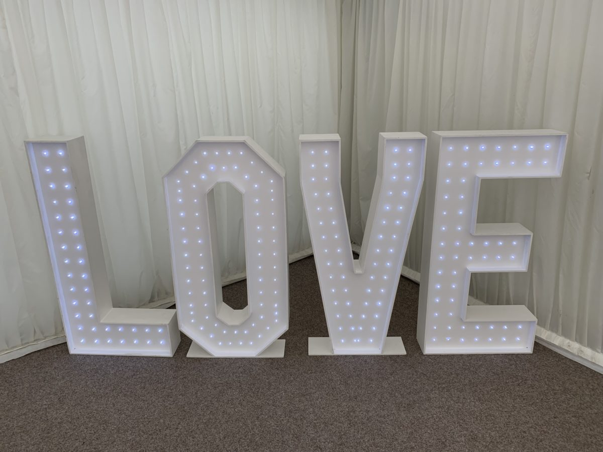 My white led love letters which were hired at The Hilton Hotel, Dunblane. Part of our wedding decor package. Giant letter hire Scotland.