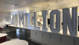 Giant letter and giant number hire at a corporate headquarters in Edinburgh.