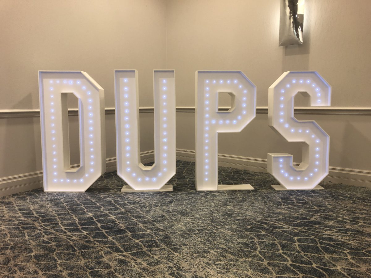 Giant letter hire for a Dundee University students at their ball at Fairmont St Andrews.