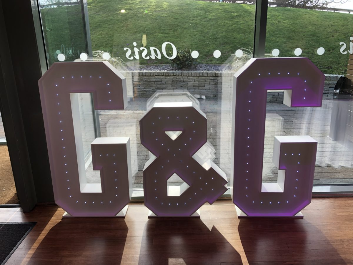 My 4ft giant letters at a wedding in The Vu in Bathgate. Giant letter hire Scotland.