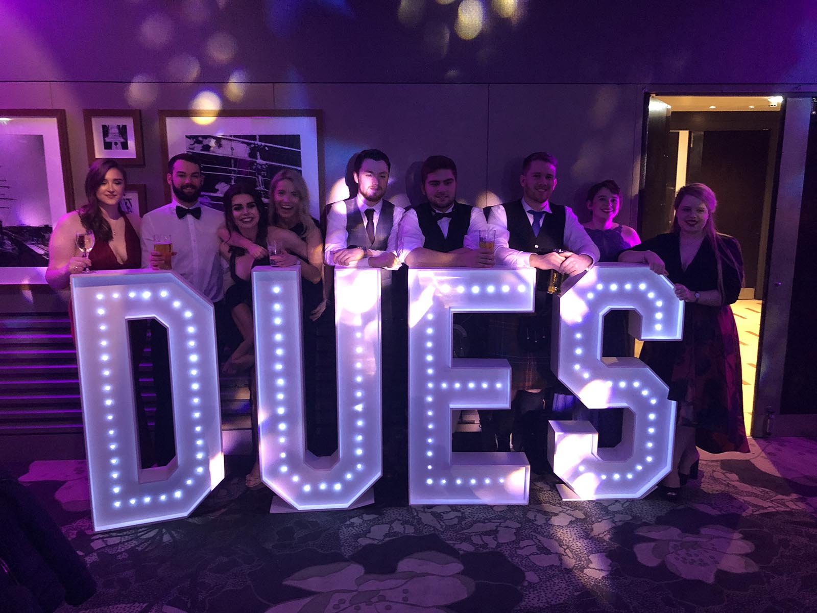 Giant letter hire for Dundee University students at The Apex Hotel in Dundee.