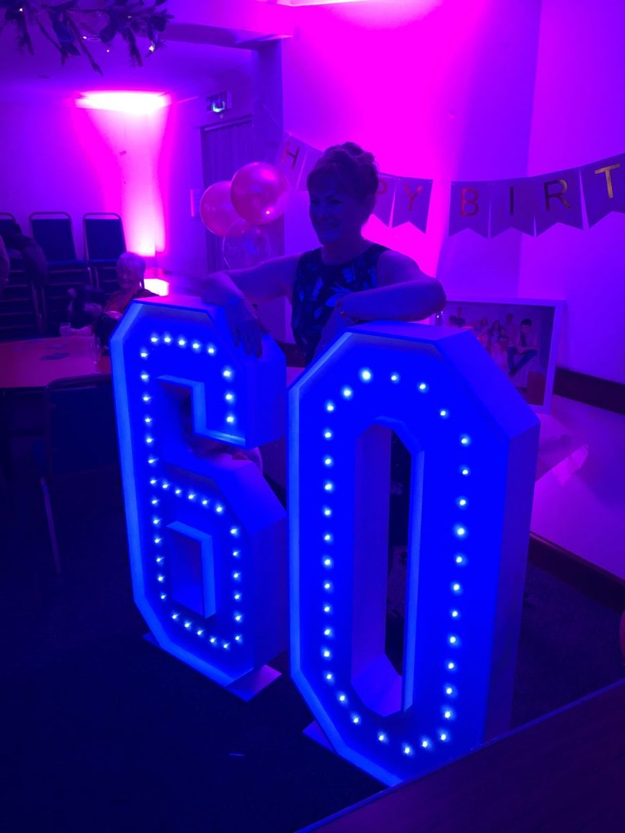 Giant letter hire at Lauren's 60th birthday party in West Barns Bowling Club, West Barns, bear Dunbar Scotland.