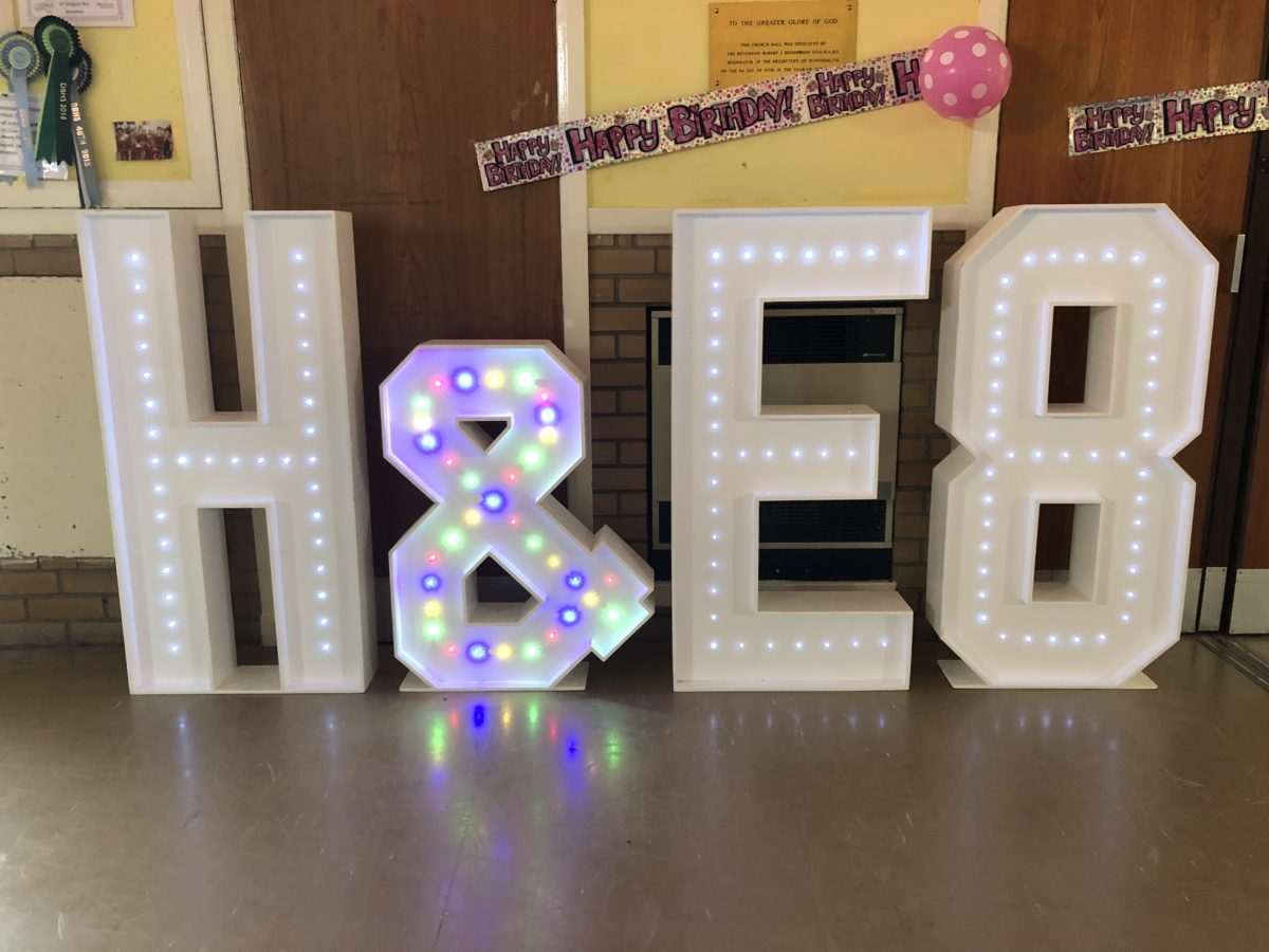 Giant letter hire for Hollie and Ellie's 8th birthday party at a church hall in Dalgety Bay, Fife, Scotland.