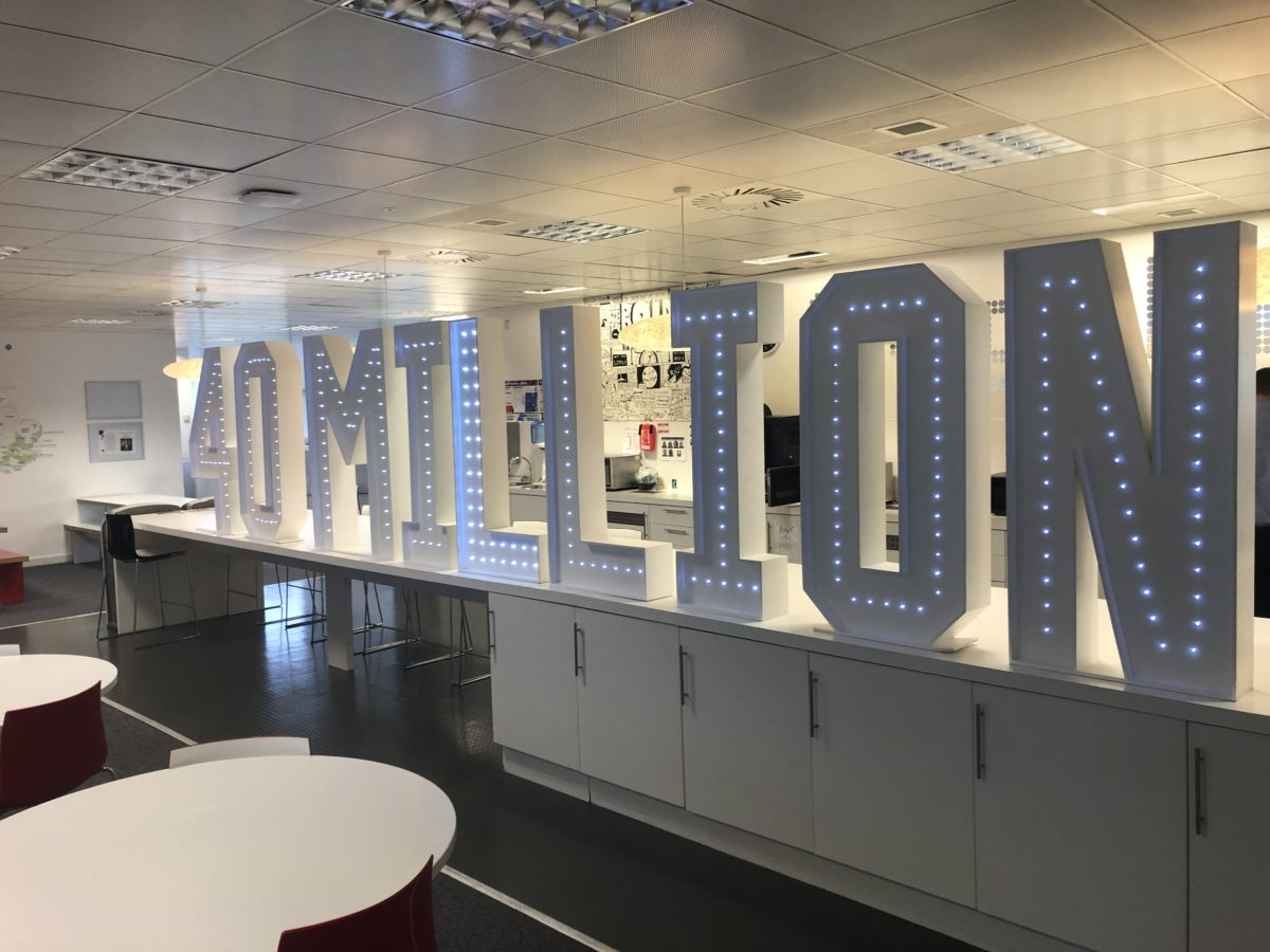 Giant letter hire for a corporate event in Edinburgh, Scotland.