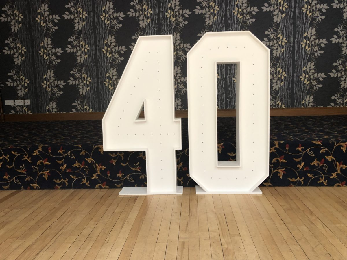 Giant letter hire at The Redhouse Hotel Coupar Angus.