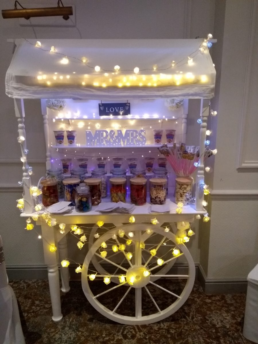 Candy Cart hire ideal addition to a wedding Dj hire or a dance floor hire.